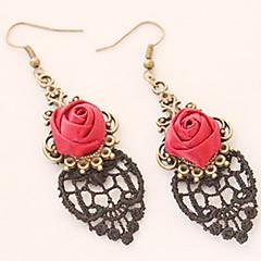 Druppel oorbellen Eenvoudige Stijl Legering Bloemvorm roze Paars Rood Sieraden Voor Bruiloft Feest Dagelijks Causaal 1 paar