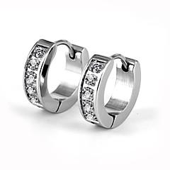 お買い得  イヤリング-男性用 女性用 キュービックジルコニア フープピアス  -  ステンレス鋼, イミテーションダイヤモンド ぜいたく, ファッション シルバー 用途 結婚式 パーティー 日常