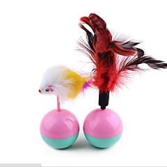 لعبة للقطة ألعاب الحيوانات الأليفة متفاعل ألعاب الريش ماوس كأس ماء × 2 بلاستيك قطيفة للحيوانات الأليفة