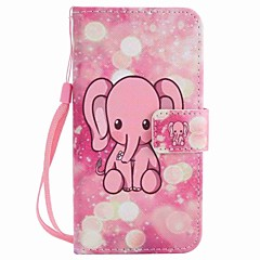For Motorola MOTO G4 Play G4 Case Cover Pink Elephant Painted Lanyard PU Phone Case