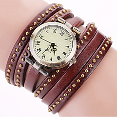 cheap Bracelet Watches-Women's Quartz Wrist Watch Bracelet Watch Colorful Punk Leather Band Charm Sparkle Vintage Dot Casual Bohemian Fashion Cool Bangle Black