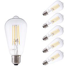 お買い得  LED 電球-GMY® 6本 450lm E26 / E27 フィラメントタイプLED電球 ST58 4 LEDビーズ COB 調光可能 装飾用 温白色 220-240V