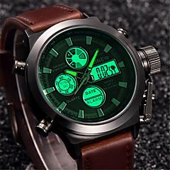Męskie Sportowy Zegarek na nadgarstek Wojskowy Kwarcowy Cyfrowe Kalendarz LCD Skóra Pasmo Luksusowy Vintage Na co dzień Nowoczesne Czarny