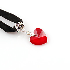 preiswerte Halsketten-Damen Kristall Halsketten / Anhängerketten / Tattoo-Hals - Krystall, Spitze Herz Tattoo Stil, Retro, Modisch Schwarz, Rot, Blau Modische Halsketten Für Hochzeit, Party, Alltag