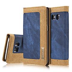 Na Samsung Galaxy S7 Edge Etui na karty / Portfel / Z podpórką / Flip / Magnetyczne Kılıf Futerał Kılıf Jeden kolor Twarde Włókna Samsung