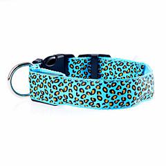 お買い得  犬用首輪/リード/ハーネス-ネコ / 犬 カラー LEDライト / 調整可能 / 引き込み式 / 充電式 レオパード ナイロン レッド / グリーン / ブルー