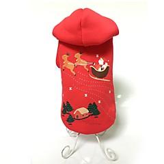 Hunde Hættetrøjer Hundetøj Vinter Dyremønster Sød Mode Hold Varm Jul Rød