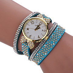 お買い得  レディース腕時計-女性用 ブレスレットウォッチ クォーツ PU バンド ブラック 白 ブルー レッド ブラウン ベージュ