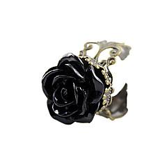 preiswerte Ringe-Damen Statement-Ring - Acryl, Harz, Aleación Rosen, Blume Ohne Verschluss Verstellbar Schwarz Für Alltag