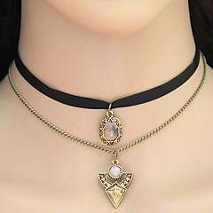 Жен. Ожерелья-бархатки Ожерелья с подвесками Воротничок Геометрической формы Треугольной формы Ткань Сплав Тату-дизайн Elegant Двойной