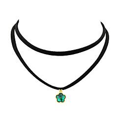 お買い得  ネックレス-女性用 レザー チョーカー  -  ベーシック ファッション グリーン ブルー ナチュラルホワイト ネックレス 用途 パーティー