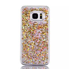 billige Galaxy S6 Etuier-Etui Til Samsung Galaxy S7 edge S7 Flydende væske Bagcover Glitterskin Hårdt PC for S7 edge S7 S6 edge plus S6 edge S6 S5