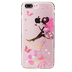 cheap iPhone Cases-Case For iPhone 7 / iPhone 7 Plus / Apple iPhone 7 / iPhone 7 Plus Rhinestone / Transparent / Pattern Back Cover Playing with Apple Logo Soft TPU for iPhone 7 Plus / iPhone 7