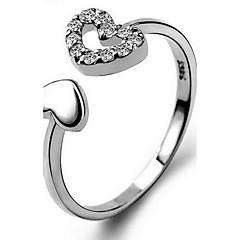 Dame Ring Kærlighed Hjerte Mode Justérbar Åben Personaliseret Sølv Hjerteformet Krydsformet Smykker Til Afslappet