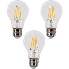 お買い得  LED 電球-3本 3.5W 400lm E26 / E27 フィラメントタイプLED電球 A60(A19) 4 LEDビーズ COB 調光可能 温白色 110-120V 220-240V