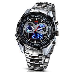preiswerte Herrenuhren-Herrn Sportuhr Militäruhr Armbanduhr Digital 30 m LED Legierung Band digital Retro Freizeit Modisch Silber - Weiß Schwarz / Edelstahl