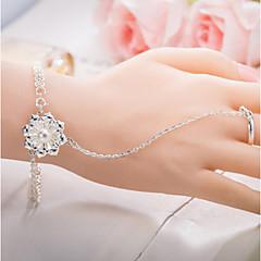 preiswerte Armbänder-Damen Ring-Armbänder - Sterling Silber Blume Kette, Natur Armbänder Silber Für Geschenk Valentinstag