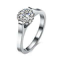 preiswerte Ringe-Damen Kubikzirkonia Ring - Edelstahl, Zirkon, Titanstahl Luxus, Europäisch, Modisch 6 / 7 / 8 Silber Für Party / Alltag / Normal / Diamantimitate