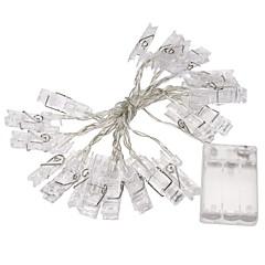 billige LED-stribelys-1pc 2m mini 20 førte 3xAA batteri card foto klip string lys julelys nye år fest bryllup boligmontering kulørte lamper gul / hvid / multi