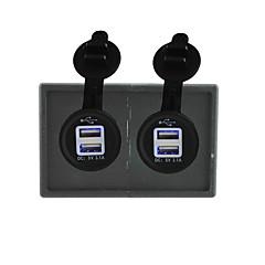 abordables Electrónica de Coche-12v / 24v 3.1a 2pcs toma de corriente USB con el panel titular de la vivienda para rv del carro del barco del coche