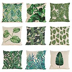 """hesapli -9 yağmur ormanları yaprağı seti Afrika keten tropik bitkiler cüppe çiçek yastık kılıfı (18 """"* 18"""")"""