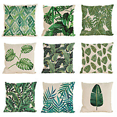 abordables Almohadas-9 PC Lino Funda de almohada Cobertor de Cojín, Un Color Con Texturas Casual Tropical Estilo playero Tradicional/Clásico
