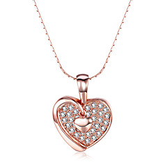 Women's Pendant Necklaces AAA Cubic Zirconia Zircon Rose Gold Plated Alloy HeartRhinestone Fashion Punk Adjustable Adorable Personalized