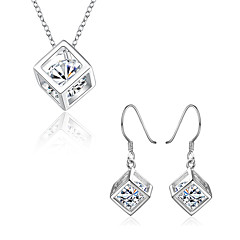 Women's Costume Jewelry Cubic Zirconia Copper Silver Plated 1 Necklace 1 Pair of Earrings For Party Daily Wedding Gifts