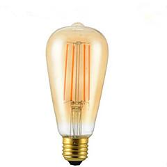 お買い得  LED 電球-1個 4W 350lm E26 / E27 フィラメントタイプLED電球 ST64 4 LEDビーズ COB 装飾用 温白色 85-265V