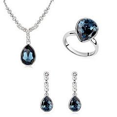 Набор украшений Кристалл европейский Австрия Кристалл Сплав Свисающие Белый Синий Светло-синий 1 ожерелье 1 пара сережек Кольца ДляДля