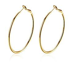Χαμηλού Κόστους Σκουλαρίκια Κρίκοι-κύκλος μόδας χρυσή επίχρυσο στεφάνι σκουλαρίκια (χρυσό) (1 ζεύγος)