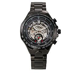お買い得  メンズ腕時計-WINNER 男性用 スケルトン腕時計 リストウォッチ 機械式時計 自動巻き ブラック 30 m 耐水 透かし加工 光る ハンズ ぜいたく ヴィンテージ - ホワイト-ブラック ブラック ゴールドとブラック / ステンレス / 速度計 / 速度計