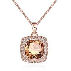 Жен. Ожерелья с подвесками Кристалл Цирконий В форме квадрата Геометрической формыХрусталь Цирконий Стекло Позолоченное розовым золотом