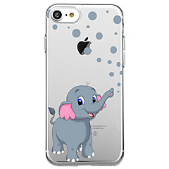 Недорогие Кейсы для iPhone-Кейс для Назначение Apple iPhone X iPhone 8 Ультратонкий Прозрачный С узором Кейс на заднюю панель Слон Мягкий Ластик для iPhone X iPhone