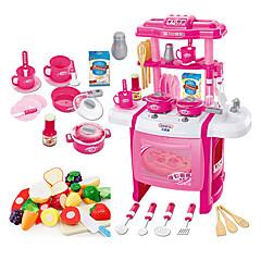 Muuttumisleikit Toy Kitchen Asettaa Toy Astiat ja tee setit Lasten Ruoanvalmistus Lelut Lelut LED-valaistus Ääni Tyttöjen 22 Pieces