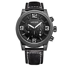 preiswerte Herrenuhren-MEGIR Herrn Kleideruhr Armbanduhr Quartz 30 m Leder Band Analog Luxus Freizeit Schwarz / Braun - Schwarz Schwarz / Blau Weiß / Braun