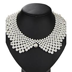 Κολάρα Μαργαριτάρι Απομίμηση Μαργαριταριού Κράμα Round Shape Πεπαλαιωμένο Euramerican Λευκό Κοσμήματα Πάρτι Γενέθλια Καθημερινά 1pc