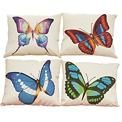 cheap Pillows-Set of 4 Color butterfly  pattern  Linen Pillowcase Sofa Home Decor Cushion Cover