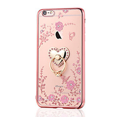 voordelige iPhone 6s Plus hoesjes-Voor iPhone 8 iPhone 8 Plus Hoesje cover Strass Beplating Ringhouder Achterkantje hoesje Bloem Zacht TPU voor Apple iPhone 7s Plus iPhone