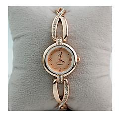 preiswerte Damenuhren-Damen Quartz Simulierter Diamant Uhr Armband-Uhr / Armbanduhren für den Alltag Rose Gold überzogen Edelstahl Band Retro Weiß Gold