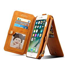 Недорогие Кейсы для iPhone-Для Кошелек Бумажник для карт со стендом Флип Кейс для Чехол Кейс для Один цвет Твердый Натуральная кожа для Apple iPhone 7 Plus iPhone 7