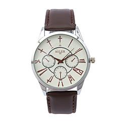 お買い得  メンズ腕時計-女性用 クォーツ リストウォッチ ホット販売 レザー バンド チャーム ファッション 白 ブルー レッド ブラウン