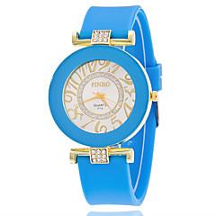 お買い得  レディース腕時計-女性用 リストウォッチ ラインストーン / 模造ダイヤモンド シリコーン バンド カジュアル / ファッション / 模擬ダイヤモンドウォッチ ブラック / 白 / ブルー