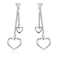 preiswerte Ohrringe-Damen Kristall Tropfen-Ohrringe - versilbert Herz Herz Silber Für Hochzeit Party Alltag