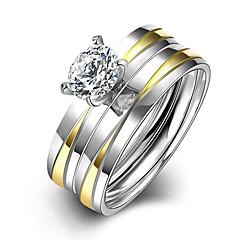 preiswerte Ringe-Damen Bandring Ring Verlobungsring - Titanstahl Simple Style, Modisch, Brautkleidung 6 / 7 / 8 / 9 Silber Für Weihnachts Geschenke Hochzeit Party