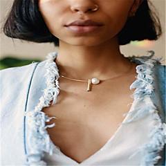 お買い得  ネックレス-女性用 黒曜石 チョーカー  -  人造真珠 オリジナル, ユニーク, ファッション ゴールド, シルバー ネックレス ジュエリー 用途 ビジネス, 日常, カジュアル