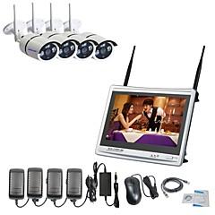 abordables Sistemas CCTV-strongshine® 4ch h.264 wireless nvr con pantalla de 11 pulgadas 960p impermeables kits de sistema de vigilancia de cámara ip ip