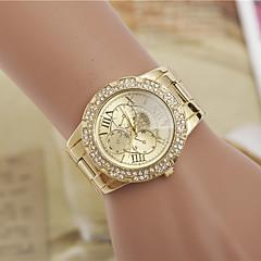 preiswerte Tolle Angebote auf Uhren-Damen Armbanduhr Quartz Designer Imitation Diamant schweizerisch Legierung Band Analog Modisch Elegant Simulierte Diamant-Uhr Silber / Gold - Golden