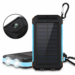 cheap -6000mAh Solar Power Bank Portable Solar Phone Charger Outdoors Emergency External Battery for Cellphone Multi-Output Flashlight