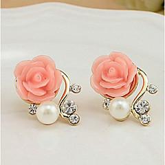 abordables Bijoux pour Femme-Femme Boucles d'oreille goujon - Perle, Imitation de perle, Strass Roses, Fleur euroaméricains Blanc / Rouge Pour Soirée Décontracté